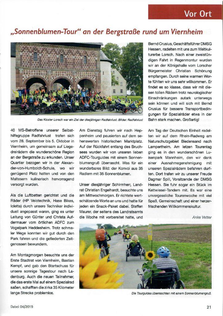 """""""Dabei"""" 4-2019 Ausgabe 143 Das Magazin der DMSG Hessen"""