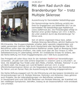Pressemitteilung der Gemeinnützige Hertie-Stiftung vom 14.09.2017